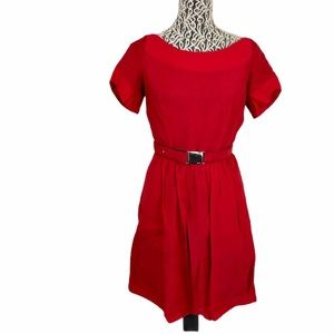 Andrew Marc Red Skater Fit & Flare 6 Buckle Dress